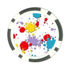 Paint Splash Rainbow Star Poker Chip Card Guard