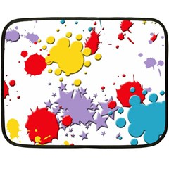Paint Splash Rainbow Star Double Sided Fleece Blanket (mini)