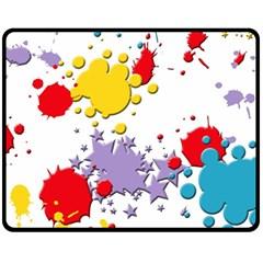Paint Splash Rainbow Star Fleece Blanket (medium)