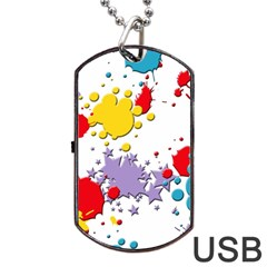 Paint Splash Rainbow Star Dog Tag Usb Flash (one Side)