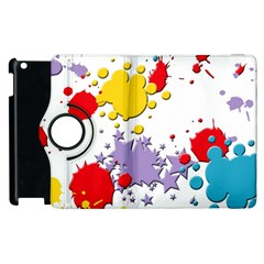 Paint Splash Rainbow Star Apple Ipad 3/4 Flip 360 Case