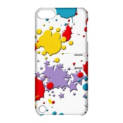 Paint Splash Rainbow Star Apple Ipod Touch 5 Hardshell Case With Stand