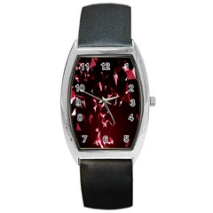 Lying Red Triangle Particles Dark Motion Barrel Style Metal Watch
