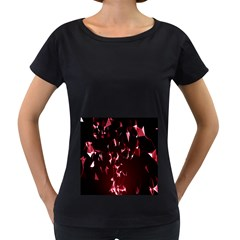 Lying Red Triangle Particles Dark Motion Women s Loose Fit T Shirt (black)