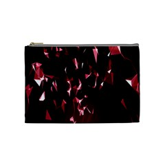 Lying Red Triangle Particles Dark Motion Cosmetic Bag (medium)