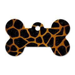Skin1 Black Marble & Yellow Grunge Dog Tag Bone (two Sides)