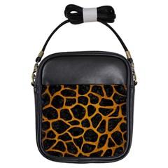 Skin1 Black Marble & Yellow Grunge Girls Sling Bags