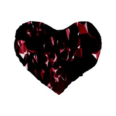 Lying Red Triangle Particles Dark Motion Standard 16  Premium Heart Shape Cushions