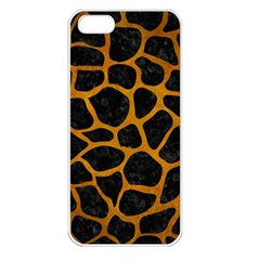 Skin1 Black Marble & Yellow Grunge Apple Iphone 5 Seamless Case (white)