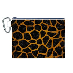 Skin1 Black Marble & Yellow Grunge Canvas Cosmetic Bag (l)