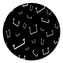 Pit White Black Sign Pattern Magnet 5  (round)