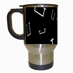 Pit White Black Sign Pattern Travel Mugs (white)