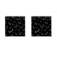 Pit White Black Sign Pattern Cufflinks (square)