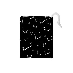 Pit White Black Sign Pattern Drawstring Pouches (small)
