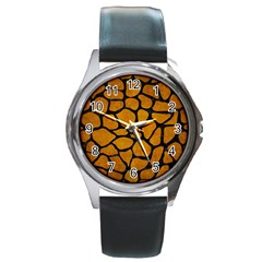 Skin1 Black Marble & Yellow Grunge (r) Round Metal Watch