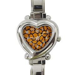 Skin1 Black Marble & Yellow Grunge (r) Heart Italian Charm Watch
