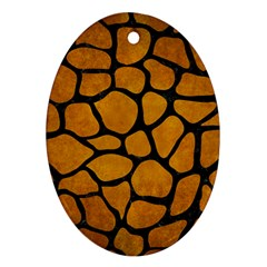 Skin1 Black Marble & Yellow Grunge (r) Oval Ornament (two Sides)