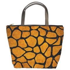 Skin1 Black Marble & Yellow Grunge (r) Bucket Bags