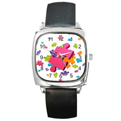 Passel Picture Green Pink Blue Sexy Game Square Metal Watch