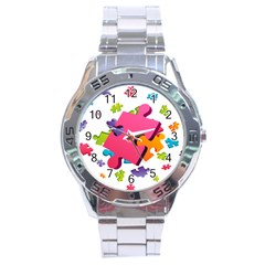Passel Picture Green Pink Blue Sexy Game Stainless Steel Analogue Watch