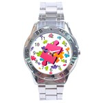 Passel Picture Green Pink Blue Sexy Game Stainless Steel Analogue Watch Front