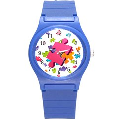 Passel Picture Green Pink Blue Sexy Game Round Plastic Sport Watch (s)