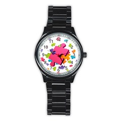 Passel Picture Green Pink Blue Sexy Game Stainless Steel Round Watch