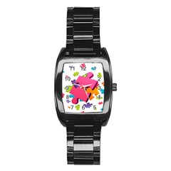 Passel Picture Green Pink Blue Sexy Game Stainless Steel Barrel Watch