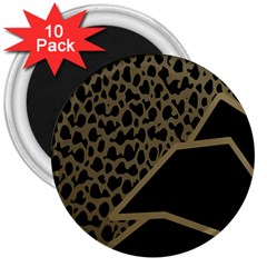 Polka Spot Grey Black 3  Magnets (10 Pack)