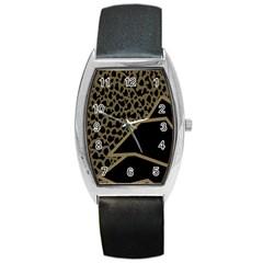 Polka Spot Grey Black Barrel Style Metal Watch