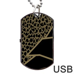 Polka Spot Grey Black Dog Tag Usb Flash (two Sides)