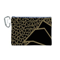 Polka Spot Grey Black Canvas Cosmetic Bag (m)