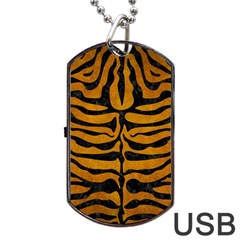 Skin2 Black Marble & Yellow Grunge Dog Tag Usb Flash (one Side)