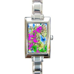 Painting Map Pink Green Blue Street Rectangle Italian Charm Watch