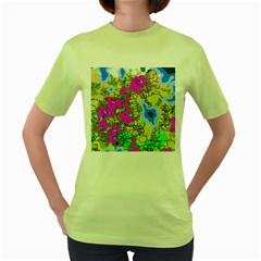 Painting Map Pink Green Blue Street Women s Green T Shirt