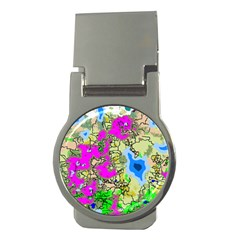 Painting Map Pink Green Blue Street Money Clips (round)