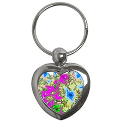 Painting Map Pink Green Blue Street Key Chains (heart)