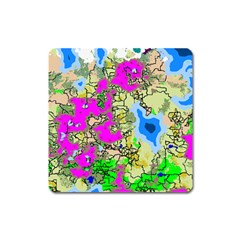 Painting Map Pink Green Blue Street Square Magnet