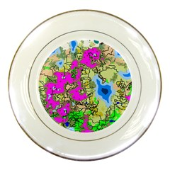 Painting Map Pink Green Blue Street Porcelain Plates