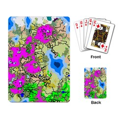 Painting Map Pink Green Blue Street Playing Card