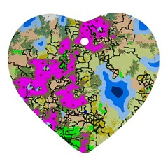 Painting Map Pink Green Blue Street Heart Ornament (two Sides)