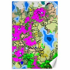 Painting Map Pink Green Blue Street Canvas 20  X 30