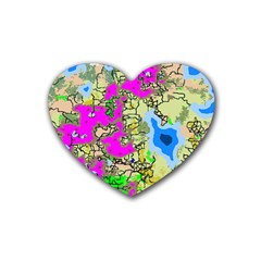 Painting Map Pink Green Blue Street Heart Coaster (4 Pack)