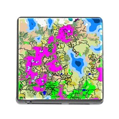Painting Map Pink Green Blue Street Memory Card Reader (square)