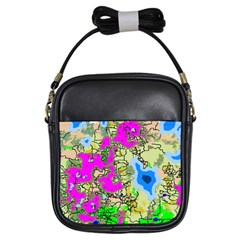 Painting Map Pink Green Blue Street Girls Sling Bags