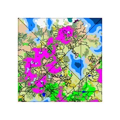 Painting Map Pink Green Blue Street Acrylic Tangram Puzzle (4  X 4 )