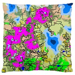 Painting Map Pink Green Blue Street Large Cushion Case (one Side)