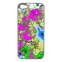 Painting Map Pink Green Blue Street Apple Iphone 5 Case (silver)