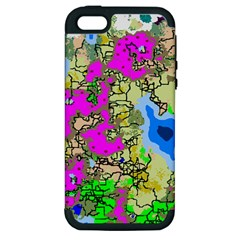 Painting Map Pink Green Blue Street Apple Iphone 5 Hardshell Case (pc+silicone)