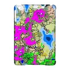 Painting Map Pink Green Blue Street Apple Ipad Mini Hardshell Case (compatible With Smart Cover)